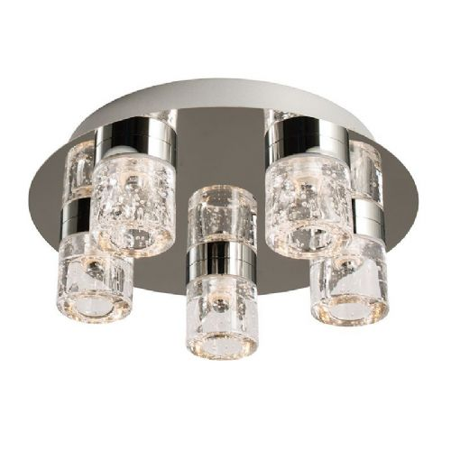 LED Chrome plate & clear glass + bubbles IP44 Bathroom Flush Light BX61358-17  (Double Insulated)